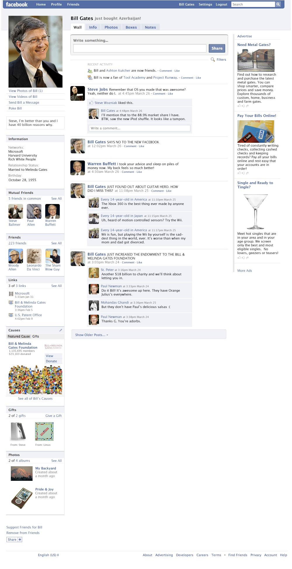 Bill Gates' Fake Facebook Profile