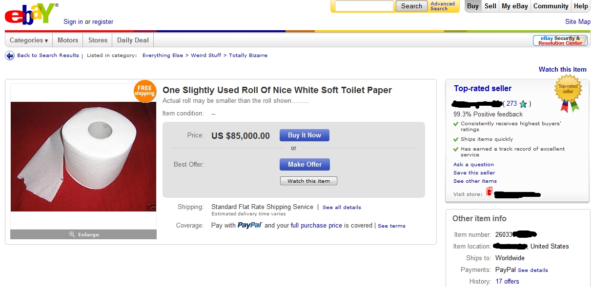 The most bizarre item for sale this week: A roll of used toilet paper
