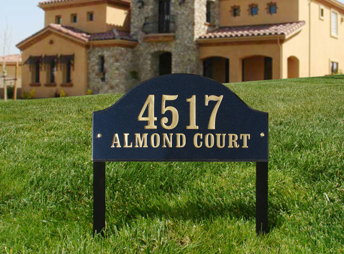 Solid Granite Arch Lawn Address Plaque