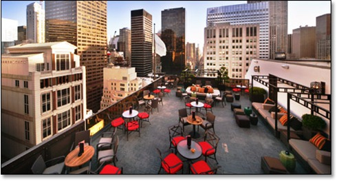 skyline patio dining in Manhattan