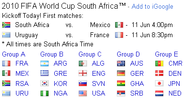 2010 fifa world cup 1st matches